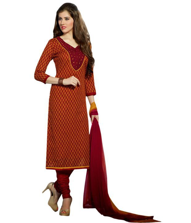 Zohraa Maroon Cotton Unstitched Dress Material