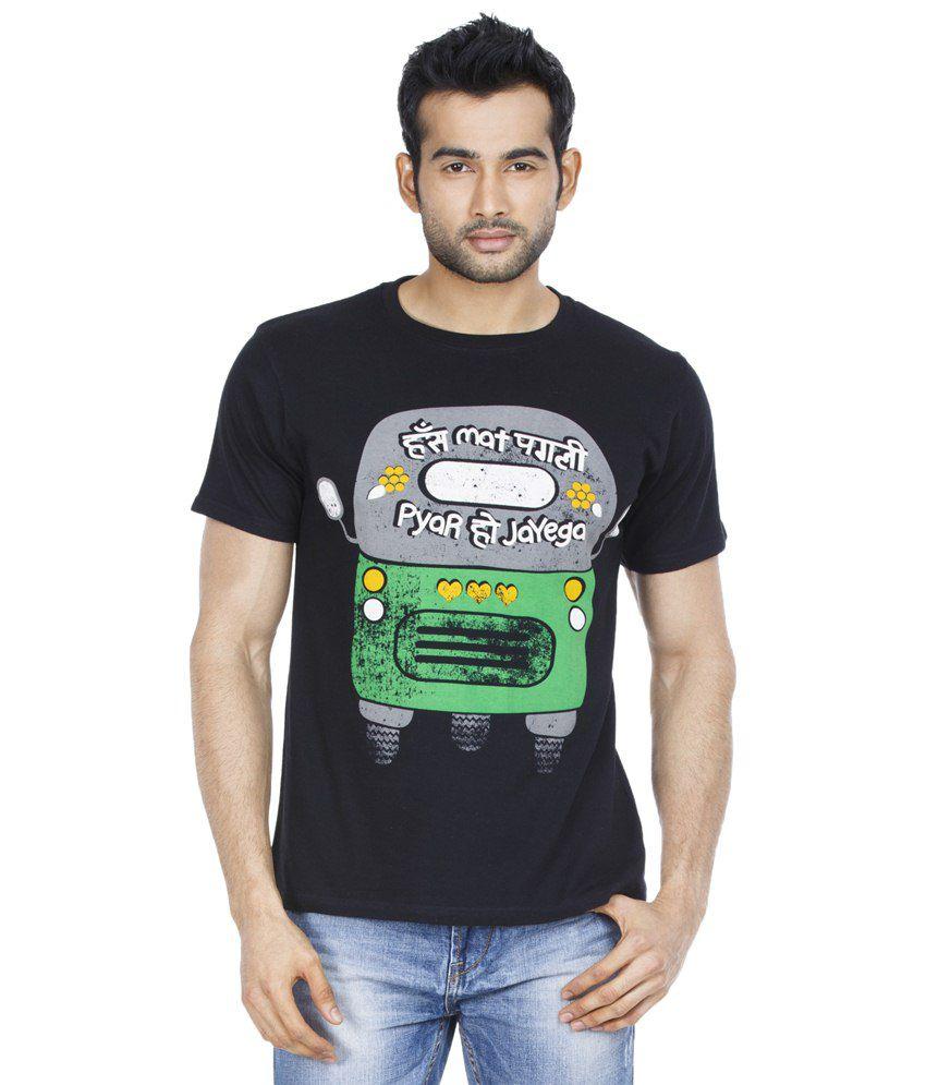 Zovi Auto Humour Black & Green Graphic T Shirt