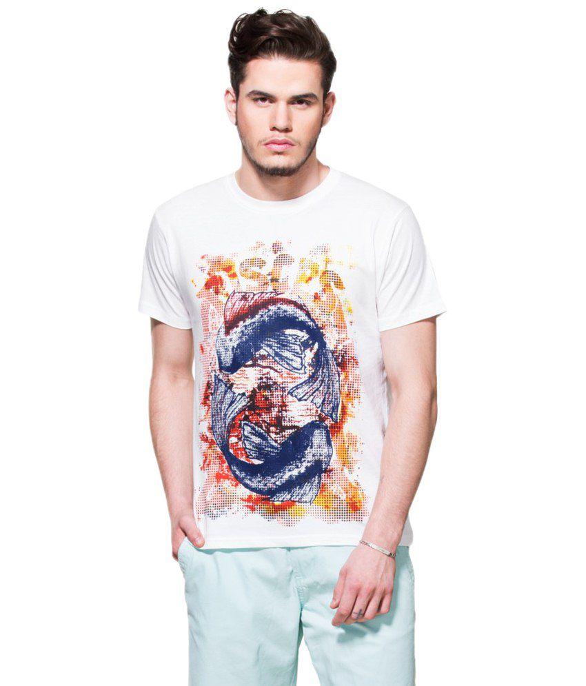 Zovi Pisces White & Blue Graphic T Shirt