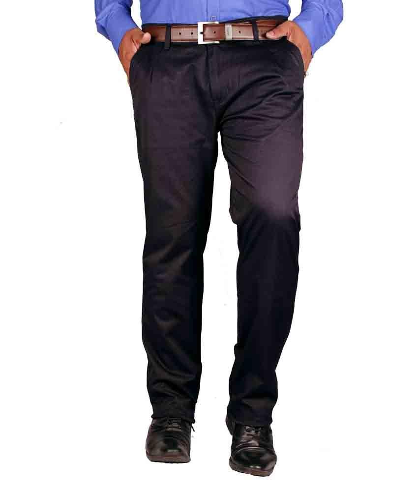 FBM Blue Cotton Lycra Formal Trouser