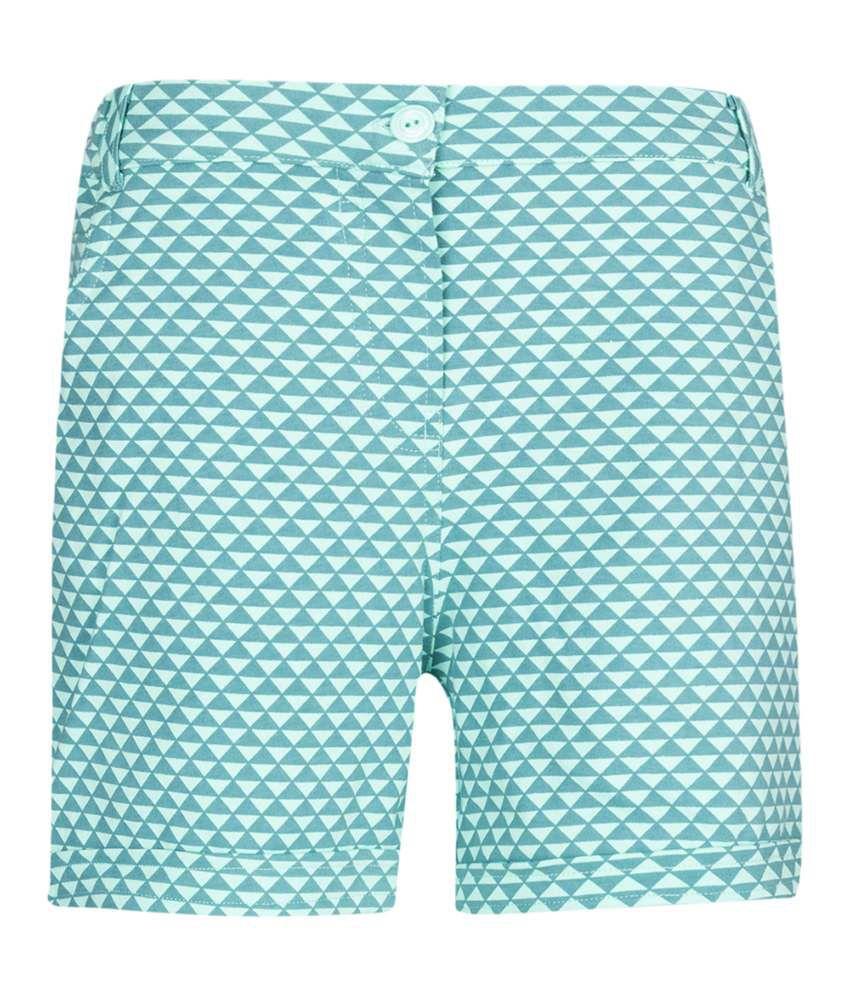 Miss Alibi Green Cotton Shorts
