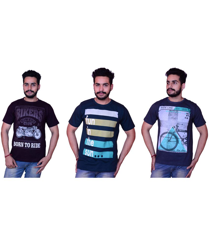 Multicolour Cotton Printed Round Neck T Shirt - Pack of 3