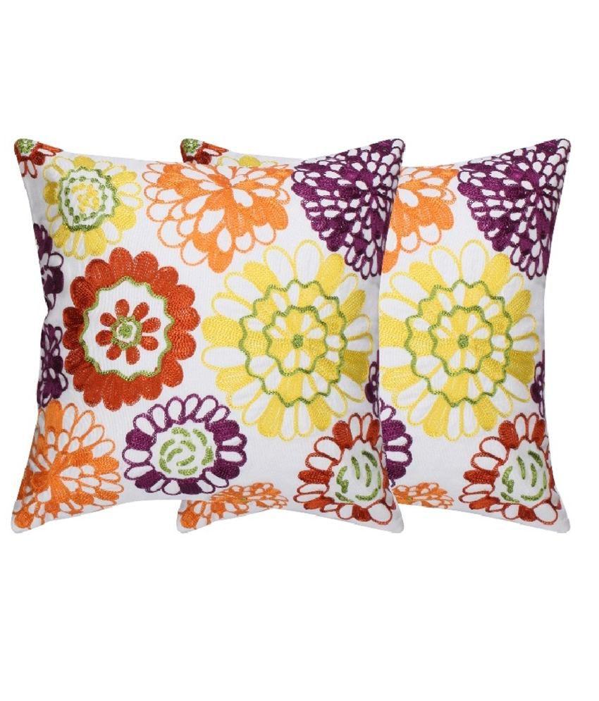 Rutbaa White Cotton Cushion Cover