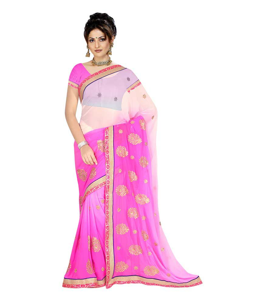 Vaishnavi Arts Pink Faux Georgette Saree
