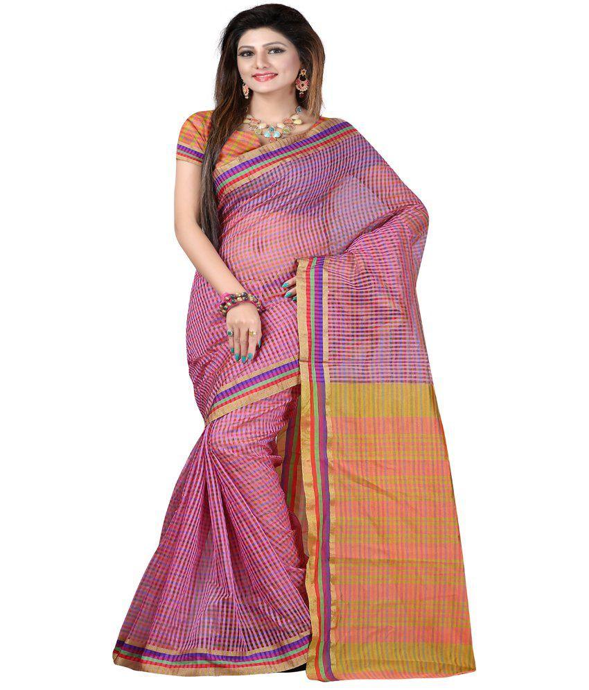 Ansu Fashion-Surat Pink Cotton Silk Printed Saree With Blouse Piece