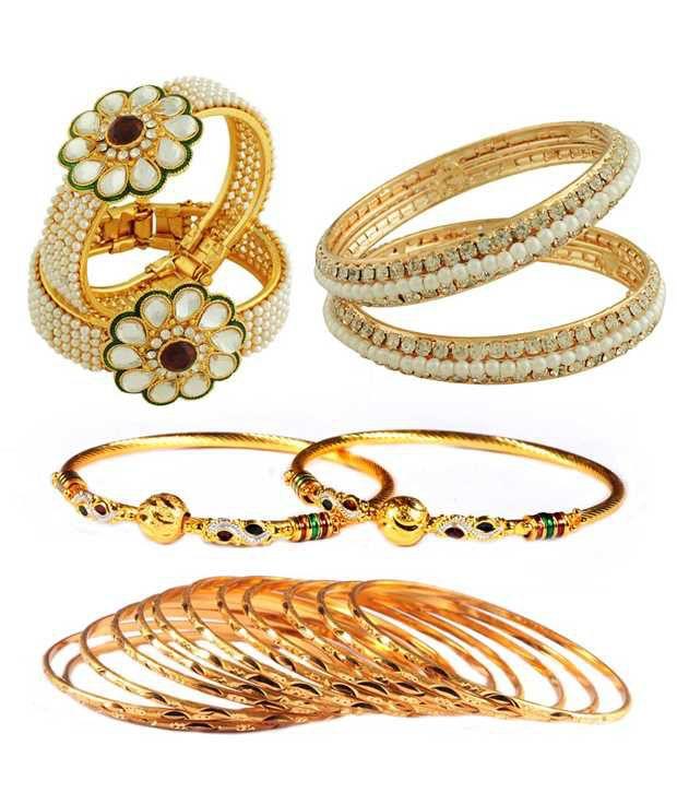 Luxor Golden Style Diva American Diamond Bangle Combo