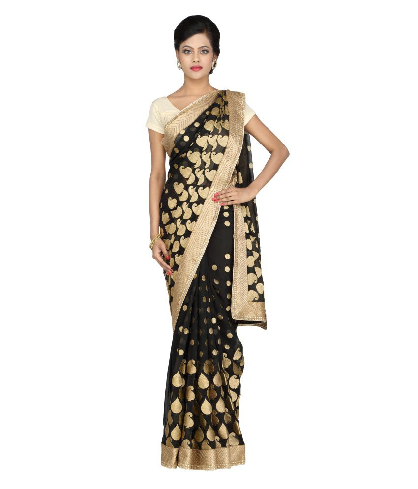 Milap Pure Chiffon Embroidered Saree With Blouse Piece
