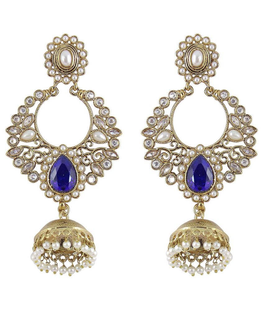 Much More Jhumki Crystal Pearl Stone Earrings Women Fashion Jewelry