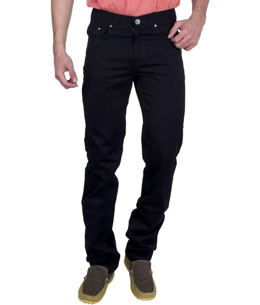 Puff Black Cotton Regular Fit Magnificent Mid Waist Jeans