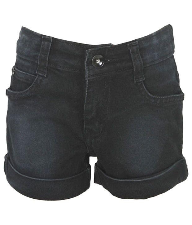 Purple Nasty Black Denim Shorts For Girls