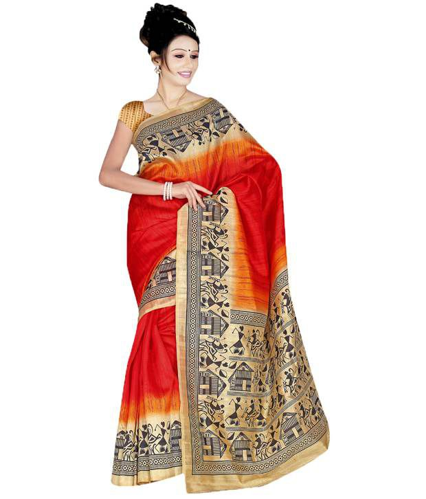 Sonal Silk Mills Red Color Printed Polyester Cotton Saree
