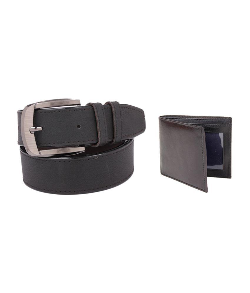 Fedrigo Black Casual Belt with Wallet - Combo