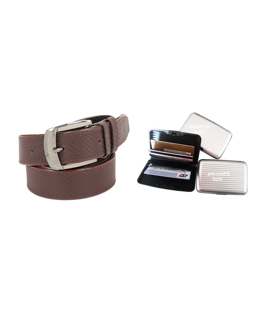 Fedrigo Brown Casual Chatai Design Belt with Card Wallet - Combo