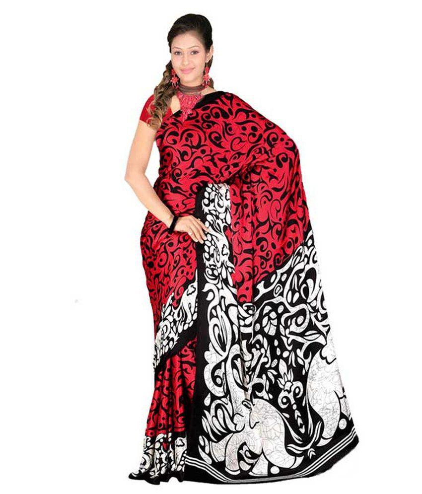 Soniya Fashion Black N Red Batik Design Red And Black
