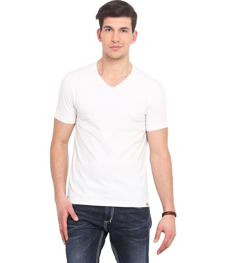 Smokestack White Cotton V-Neck Half Sleeves T-Shirt