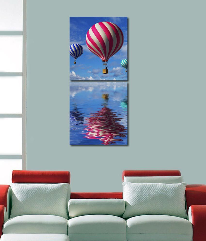 999store Glossy Printed Baloon In The Sky Wall Art Painting With Frame -2 Frames