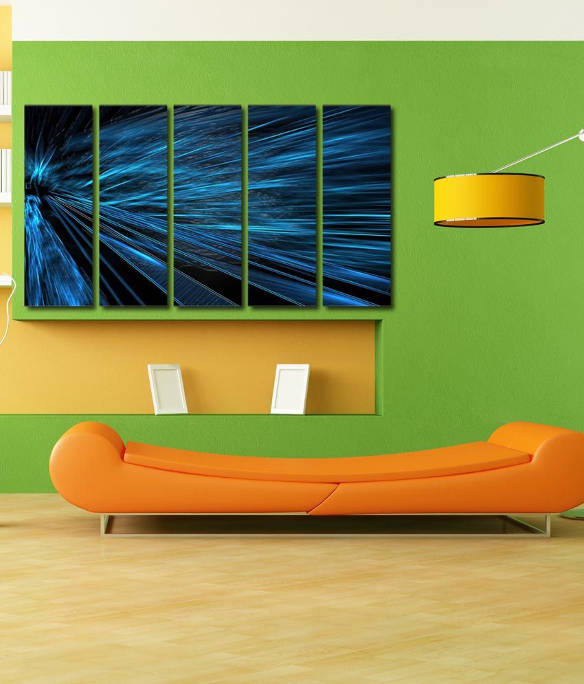 999store Glossy Printed Blue Colours Like Modern Wall Art Painting With Frame - 5 Frames
