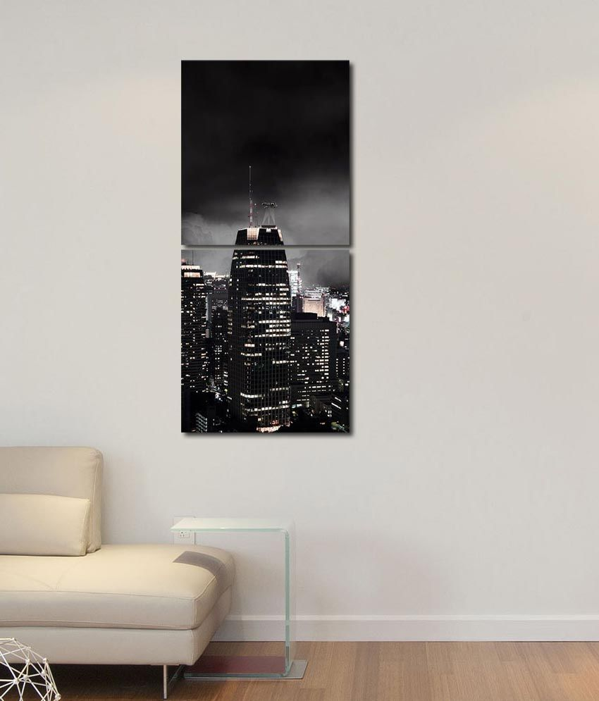 999store Glossy Printed Cities Like Modern Wall Art Painting With Frame -2 Frames