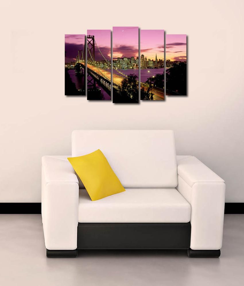 999store Glossy Printed City Bridge Design Like Modern Wall Art Painting With Frame