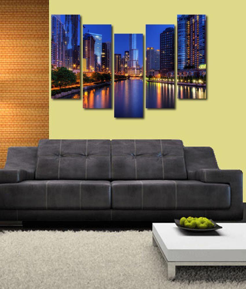 999store Glossy Printed City Like Modern Wall Art Painting With Frame - 5 Frames