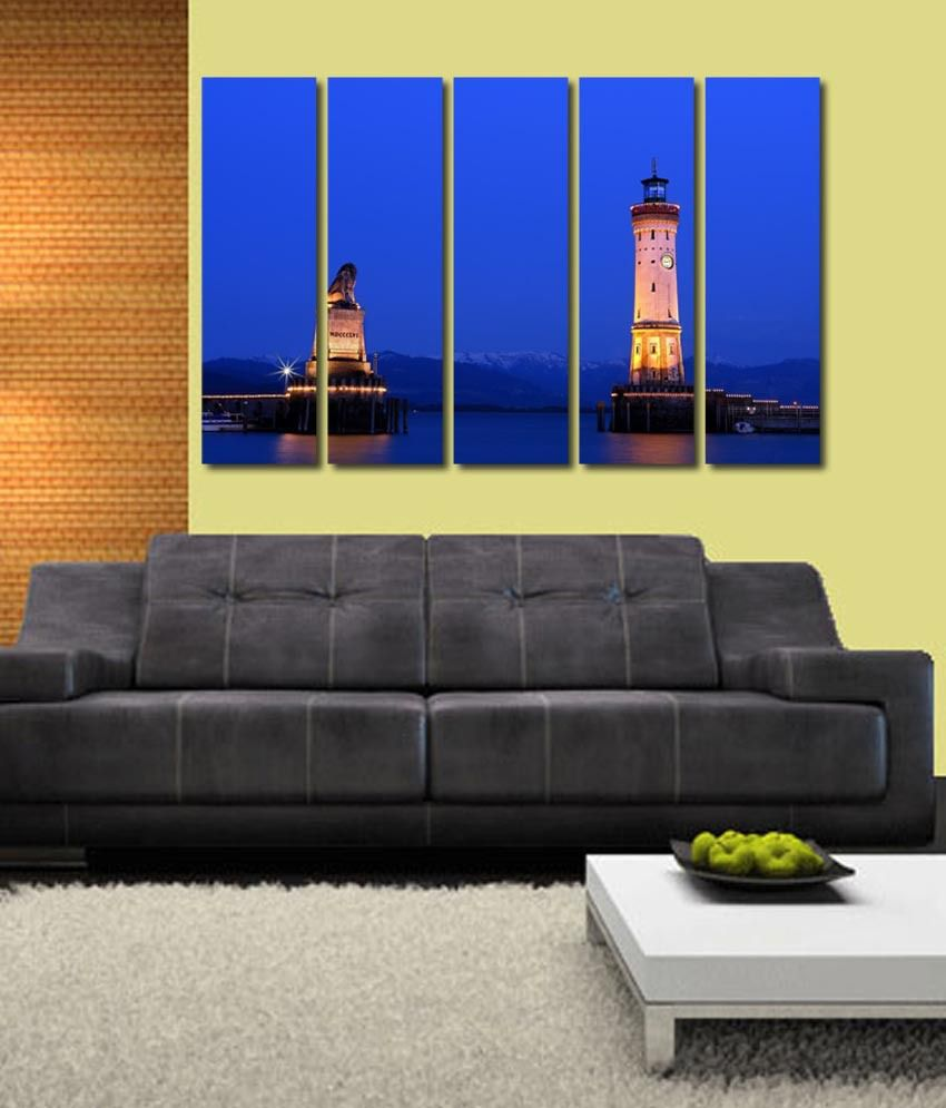999store Glossy Printed Clock Tower Like Modern Wall Art Painting With Frame - 5 Frames