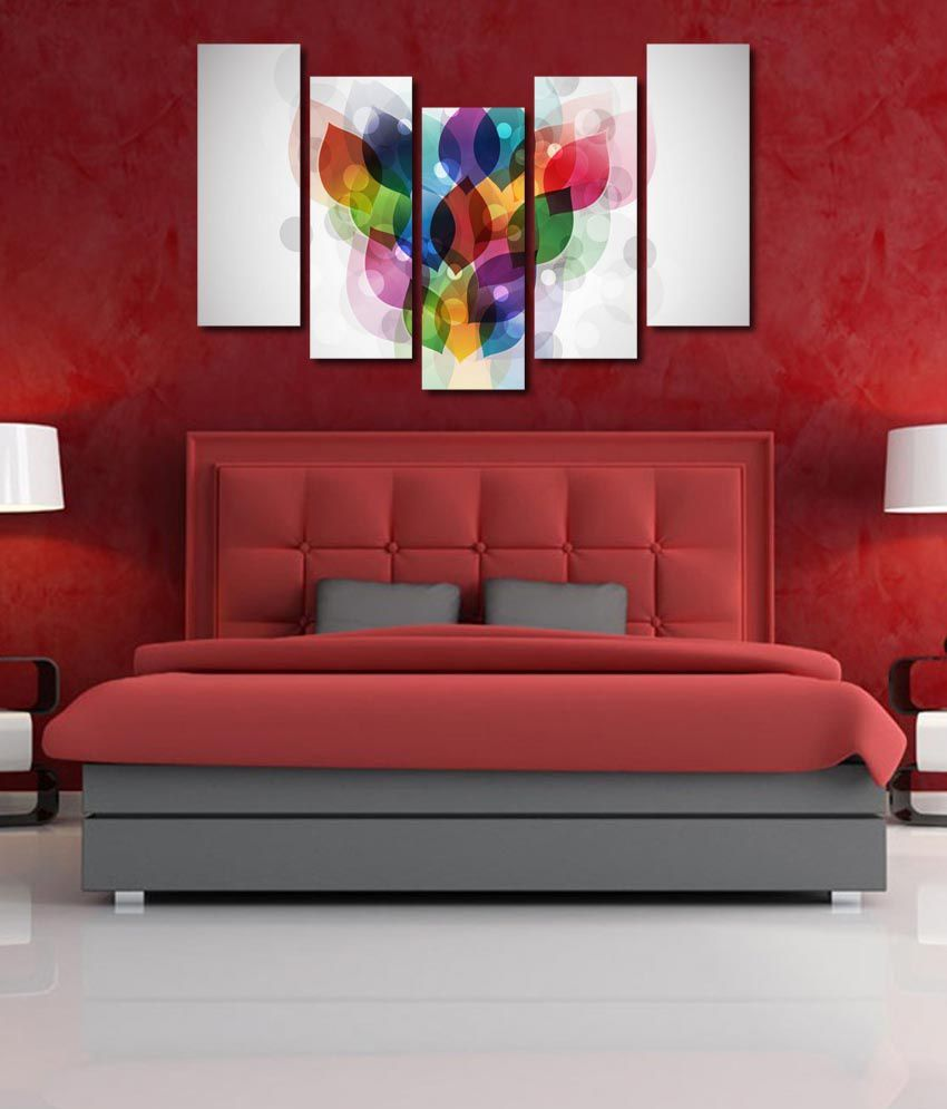 999store Glossy Printed Colors Like Modern Wall Art Painting With Frame - 5 Frames