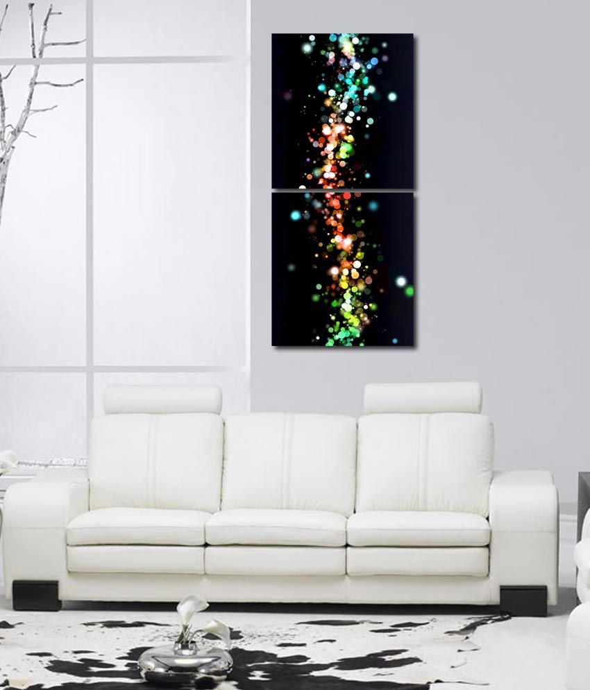 999store Glossy Printed Drops At Glass Wall Art Painting With Frame -2 Frames