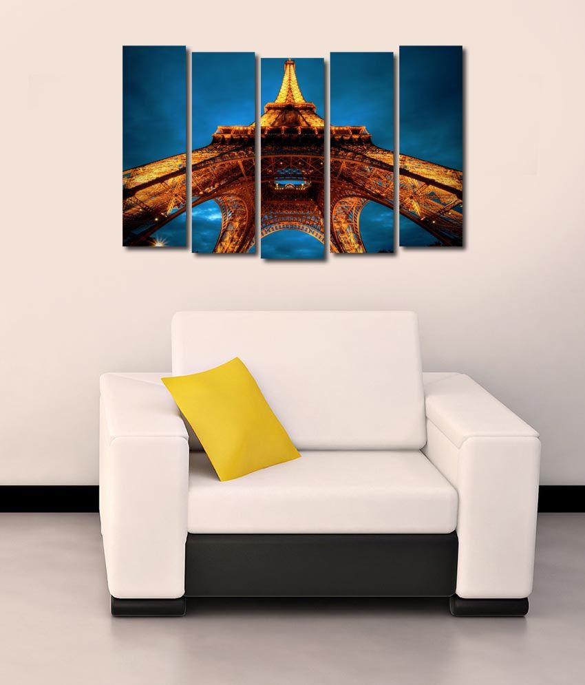 999store Glossy Printed Eiffel Tower Like Modern Wall Art Painting With Frame - 5 Frames