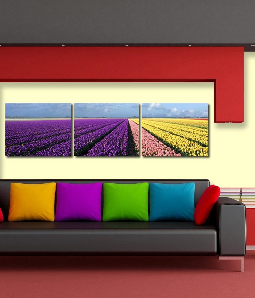 999store Glossy Printed Flower Like Modern Wall Art Painting With Frame - 3 Frames