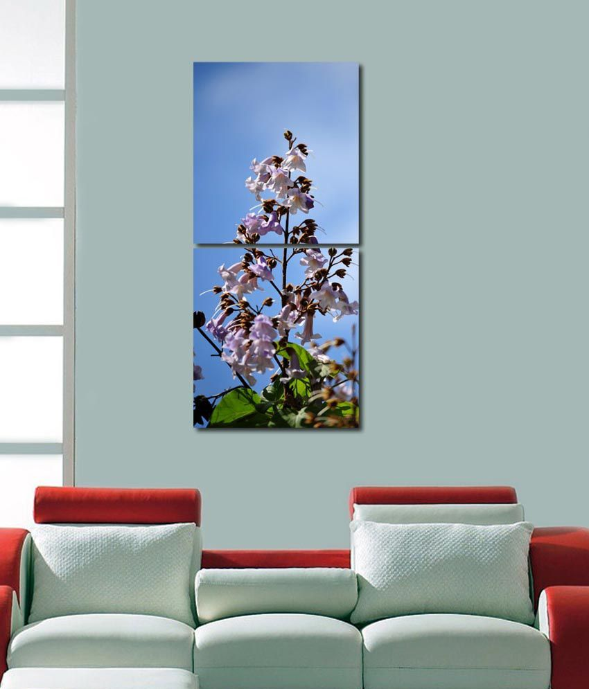 999store Glossy Printed Flower Modern Wall Art Painting With Frame -2 Frames