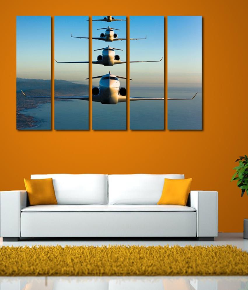 999store Glossy Printed Flying Planes Like Modern Wall Art Painting With Frame - 5 Frames