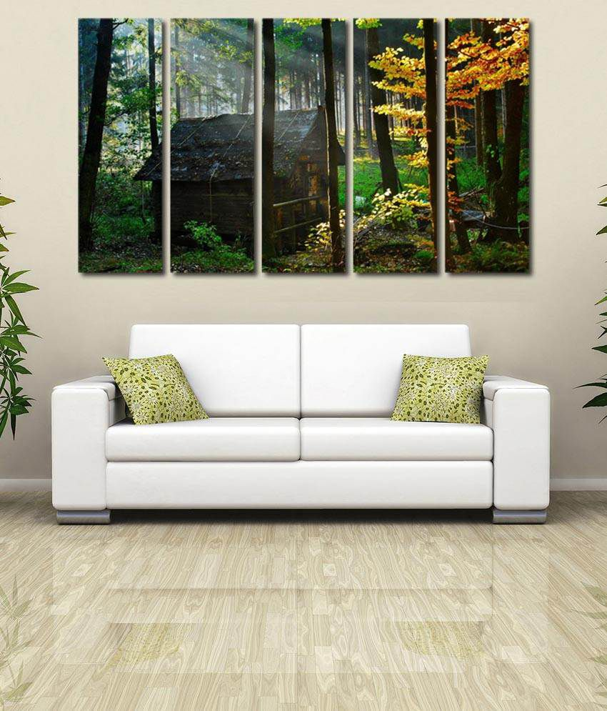 999store Glossy Printed Forest Hut Like Modern Wall Art Painting With Frame - 5 Frames