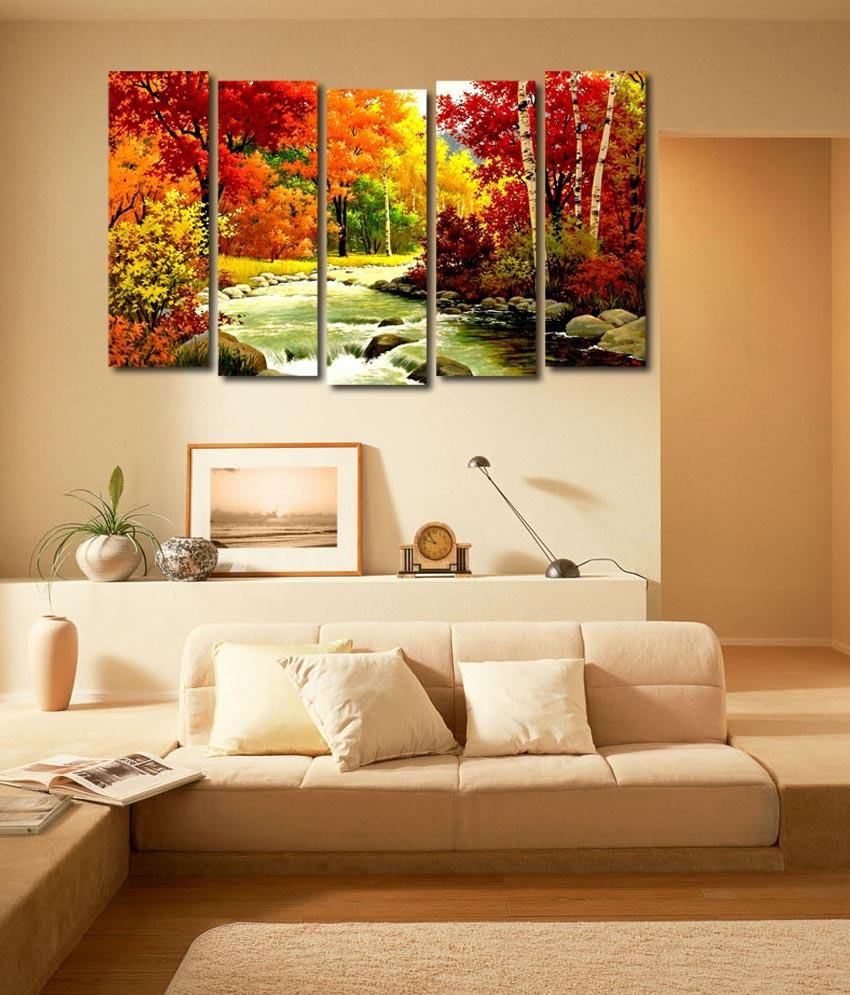 999store Glossy Printed Forest River Like Modern Wall Art Painting With Frame - 5 Frames