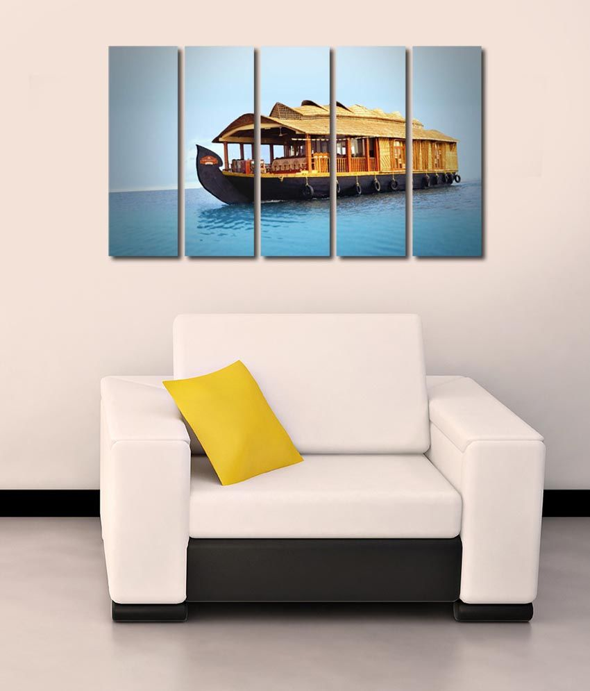 999store Glossy Printed House Boat Like Modern Wall Art Painting With Frame - 5 Frames
