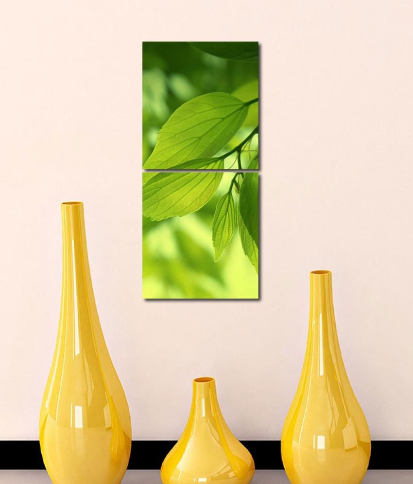 999store Glossy Printed Leafs Wall Art Painting With Frame -2 Frames