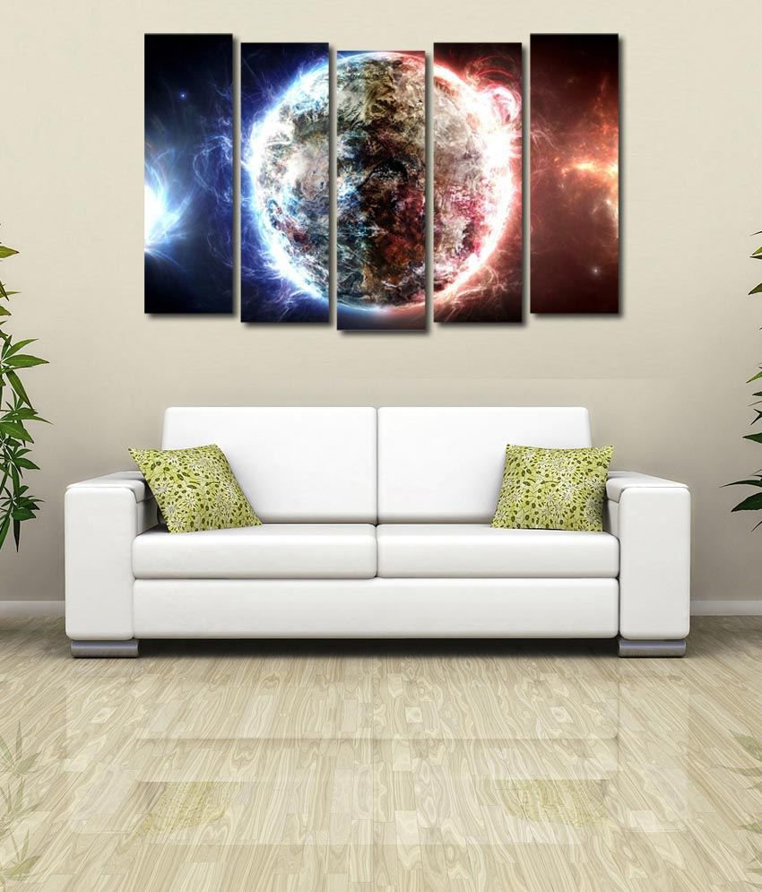 999store Glossy Printed Planet Like Modern Wall Art Painting With Frame - 5 Frames