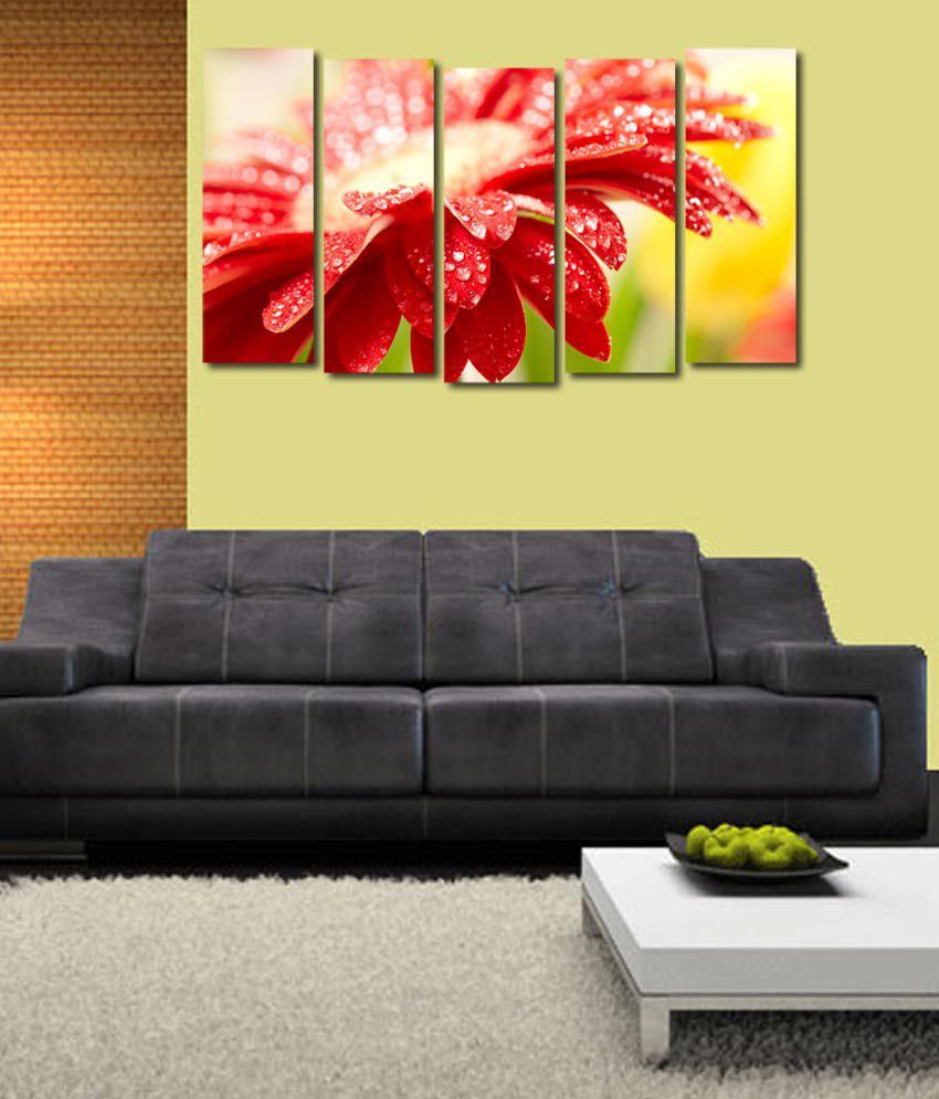 999store Glossy Printed Red Flower Like Modern Wall Art Painting With Frame - 5 Frames