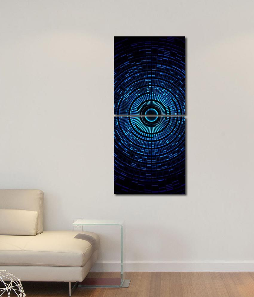 999store Glossy Printed Round Light Like Modern Wall Art Painting With Frame -2 Frames