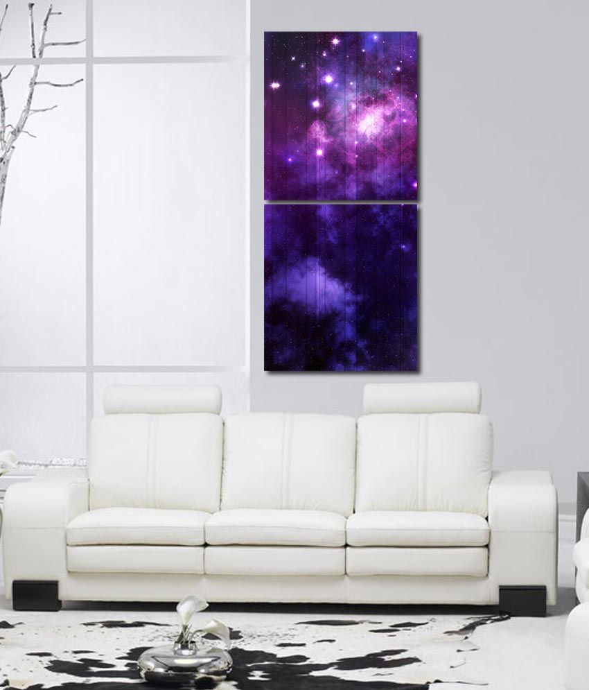 999store Glossy Printed Star In The Sky Like Modern Wall Art Painting With Frame -2 Frames
