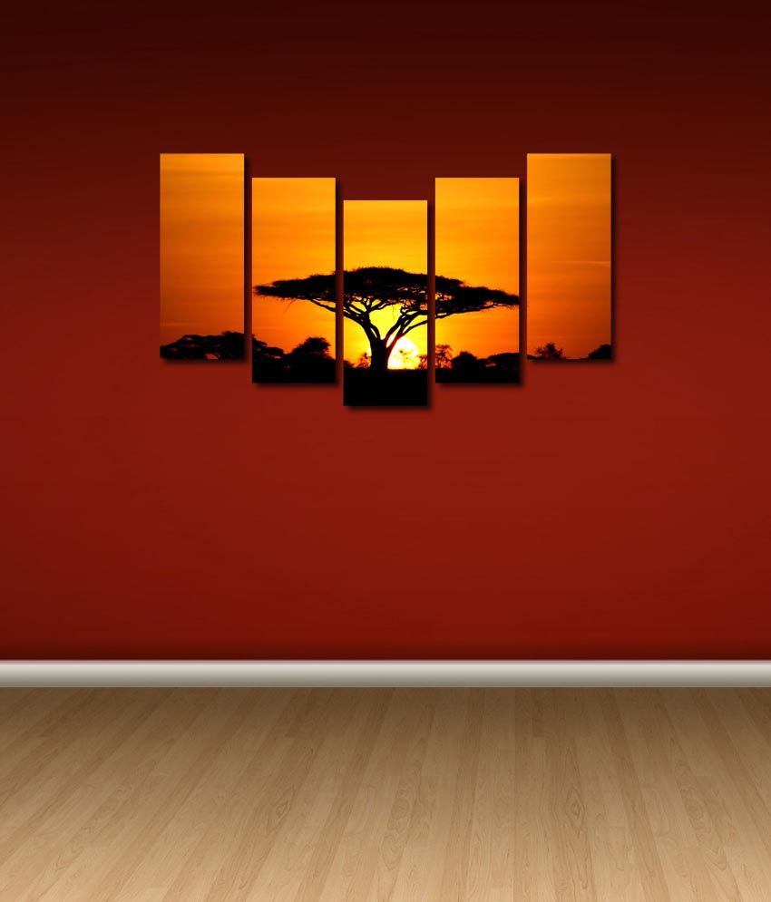 999store Glossy Printed Sun Set Tree Like Modern Wall Art Painting With Frame - 5 Frames