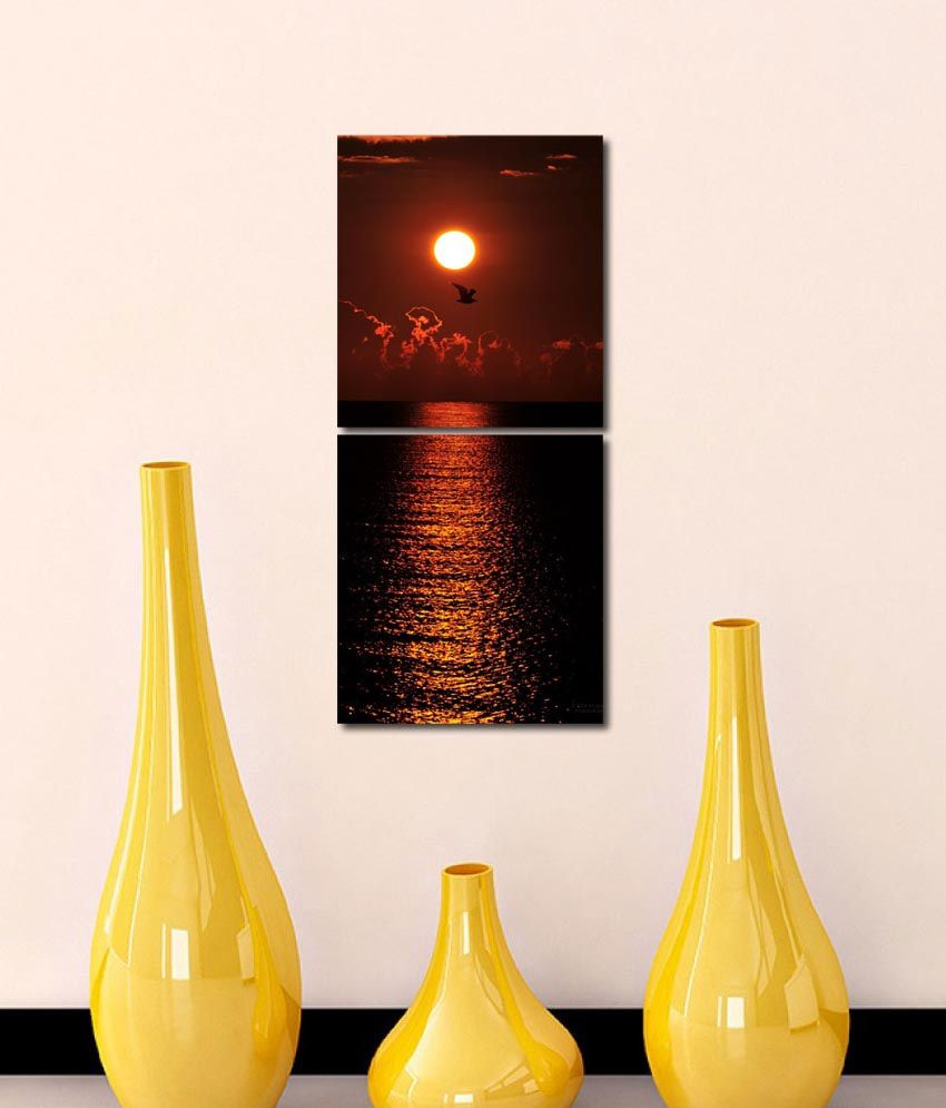 999store Glossy Printed Sunset Like Modern Wall Art Painting With Frame -2 Frames