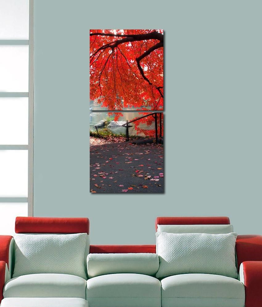 999store Glossy Printed Tree At Lake Wall Art Painting With Frame -2 Frames
