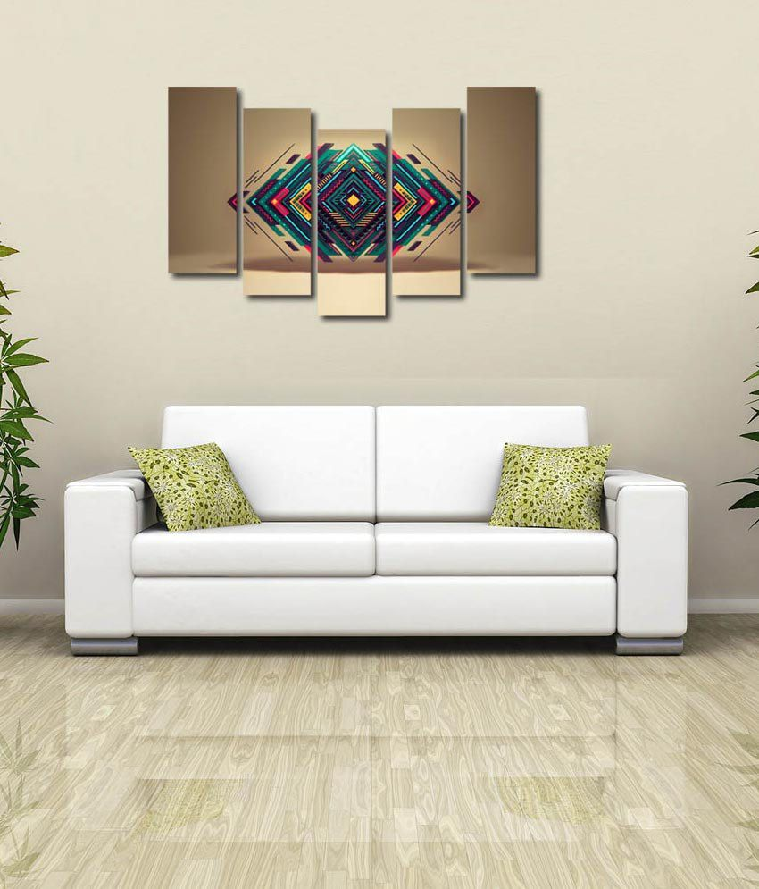 999store Glossy Printed Triangles Like Modern Wall Art Painting With Frame - 5 Frames
