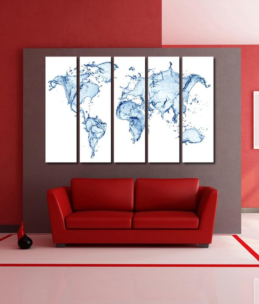 999store Glossy Printed Water World Map Like Modern Wall Art Painting With Frame - 5 Frames