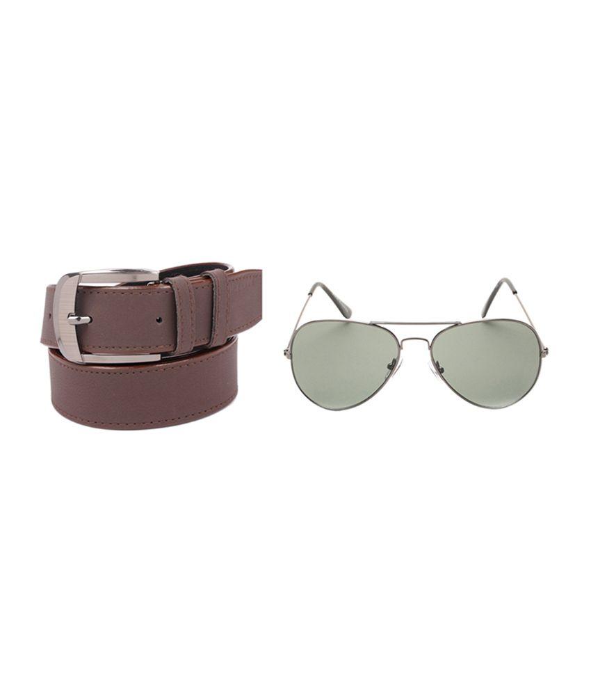 Fedrigo Brown Casual Belt With Sunglasses - Combo