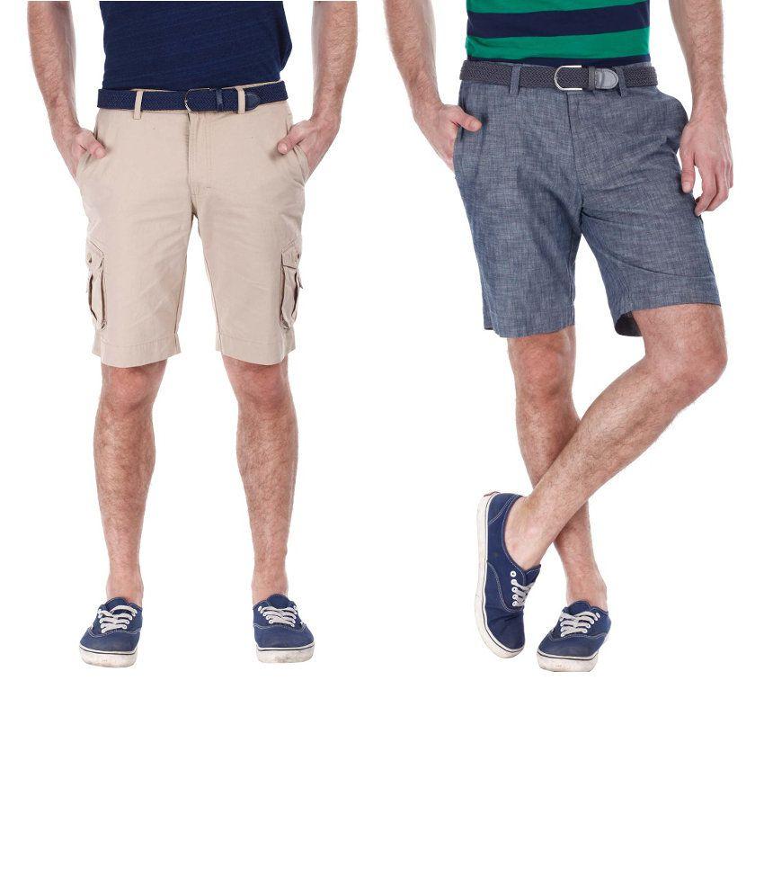 Zobello Combo Of 2 Beige And Gray Cotton Shorts