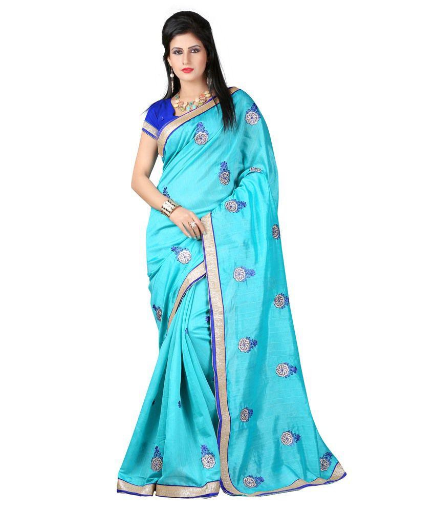 A 1 Creatiom Bhagalpuri Silk Embroidered Saree With Blouse Piece