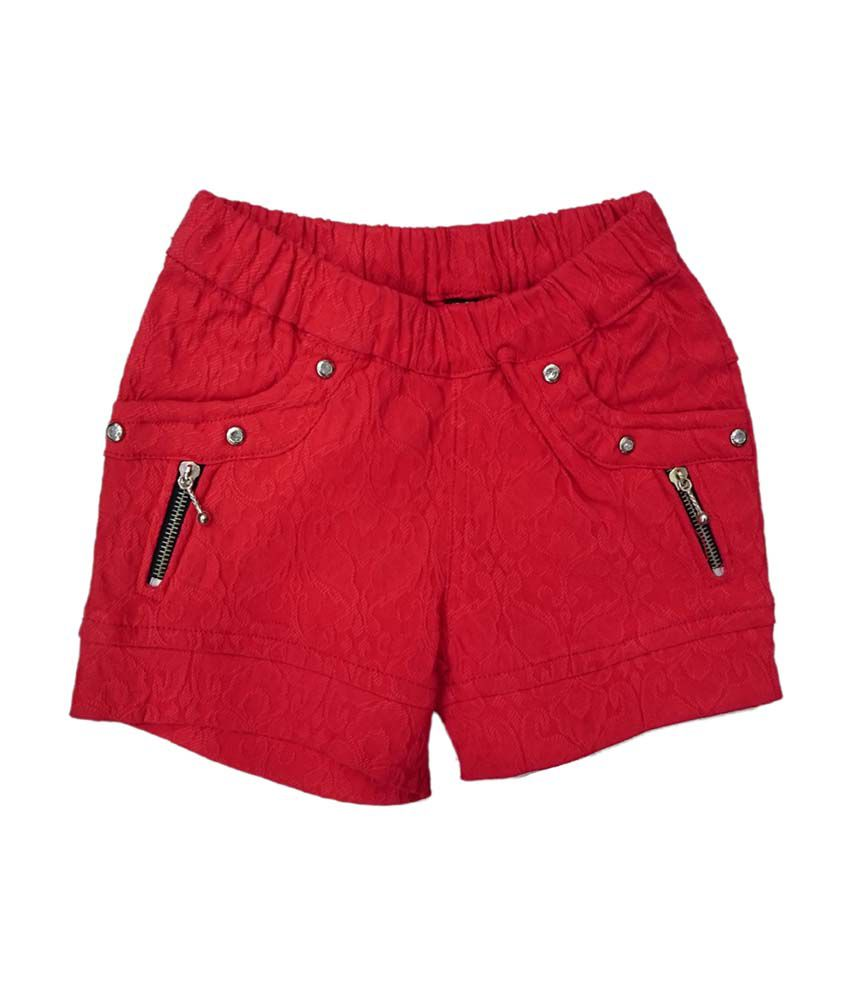 Pink&white Red Elastic Shorts
