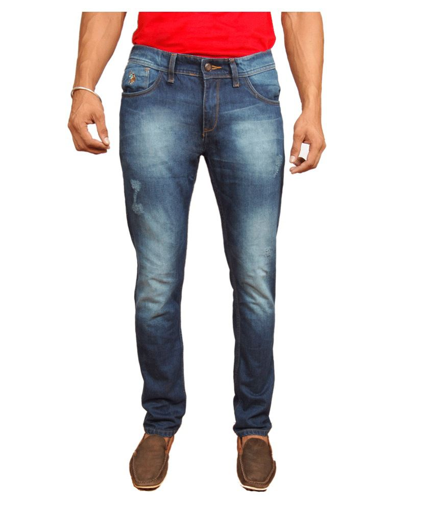 U.S. Polo Assn. Slim Fit Ripped Jeans Dark Blue For Men