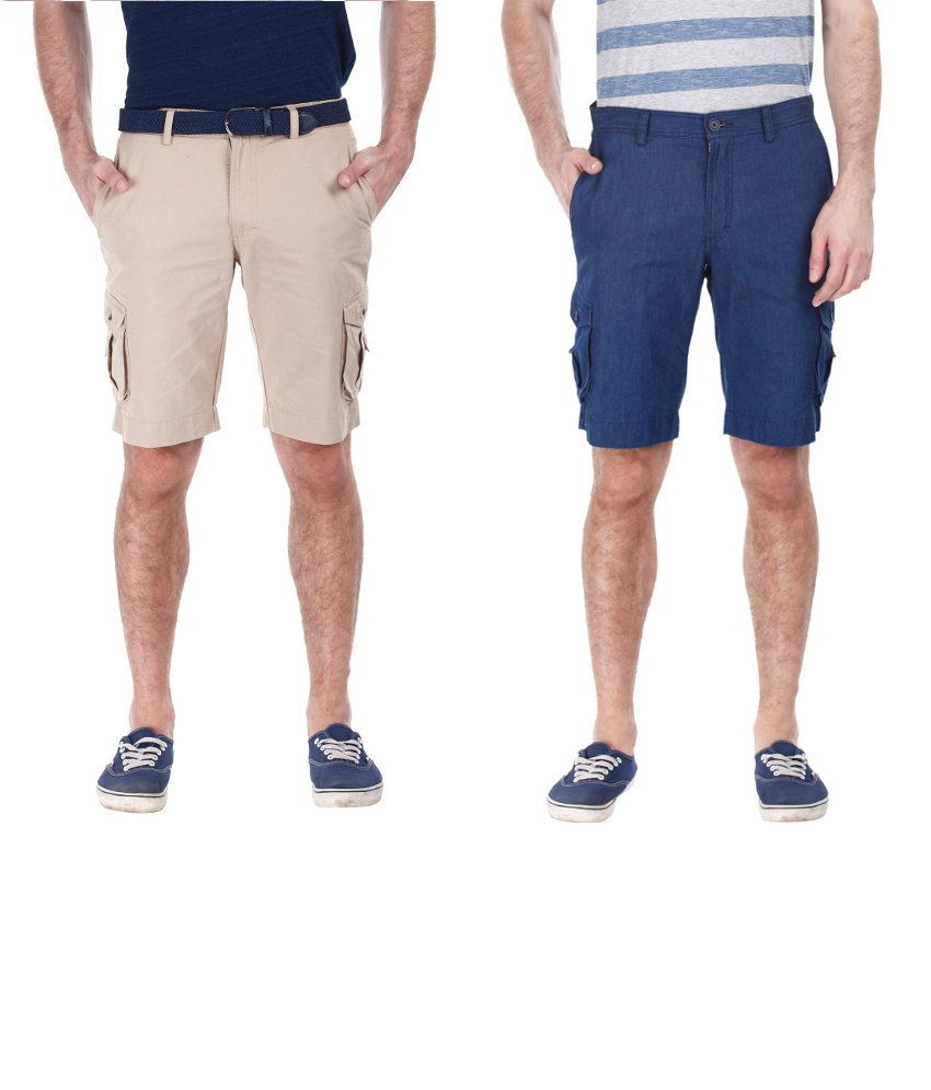 Zobello Combo Of 2 Beige And Blue Cotton Shorts